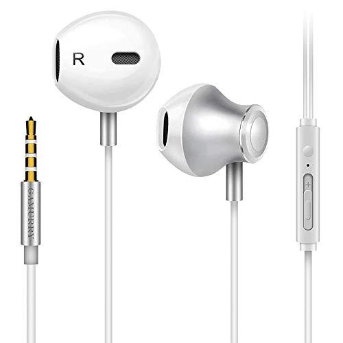 Auriculares,Auriculares con micrófono, Sistema de cancelación de Ruido y Sonido Envolvente. Compatibles con Android y PC (Blanco)