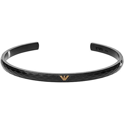 Emporio Armani EGS2764001 - Brazalete abierto para hombre, acero inoxidable, color negro