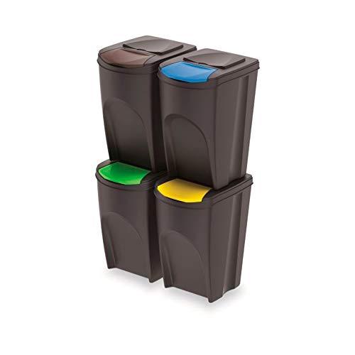 rg-vertrieb 4er Set Prosperplast Sortibox 140L Kunststoff Anthrazit 4x35L