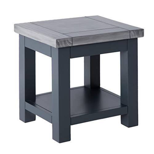 Bristol Grey Square Lamp Table with Shelf | Roseland Furniture Small Low Painted Wooden Side End Sofa Table for Living Room, Hallway or Bedroom | Fully Assembled (Charcoal)