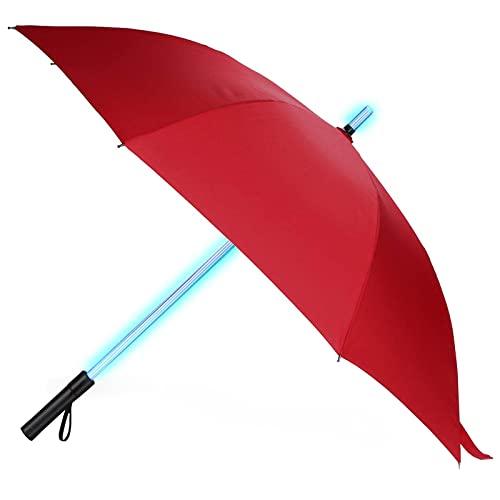 Lightsaber Umbrella - LED Laser Sword Light up Golf Umbrellas with 7 Color Changing On the Shaft/Built in Torch at Bottom (Red)