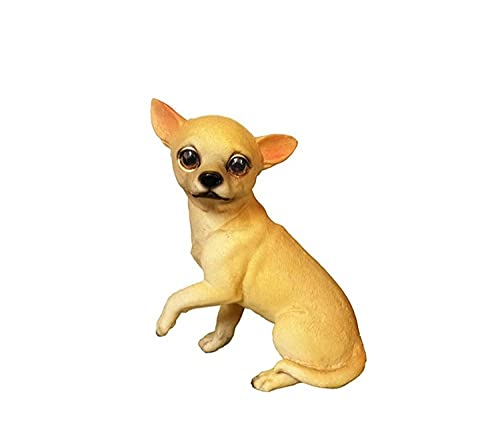 DXZQ Garden Animal Sculptures Outdoor Statues Creative bucket decoration simulation dog model resin Chihuahua dog puppy fake dog