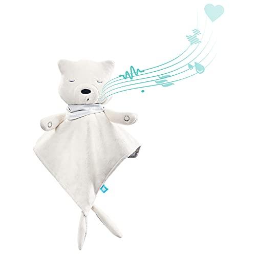 myHummy avec capteur doudou écru blanc premium | Peluche bruit blanc bébé | Machine à bruit blanc - battement coeur bruit des vagues | my hummy avec capteur de sommeil peluche endormissement bebe