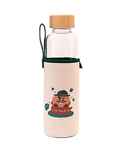 Botella agua BT21 Shooky - Botella agua cristal - Botella termica 500ml - Botella agua niños sin bpa / Botella agua reutilizable - Producto con licencia oficial