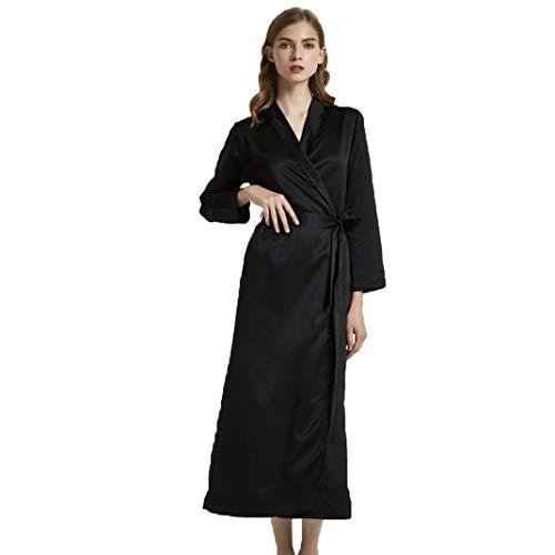 DyM Elegante camisón largo con cuello en V kimono para dormir camisón de satén con cinturón para la boda del hotel familiar(Color:black,Size:M)
