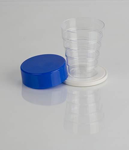 Vaso plegable con espejo, para camping, picnic, viajes, hogar, cristal azul, talla única