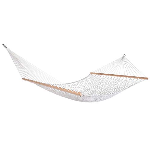 Large Size Hammocks with 330lbs Capacity, Quality Hand-Woven Cotton Rope, Hammock Swing for Kids, Garden Theme Decoration, Swing Chair Perfect for Indoor/Outdoor, Patio, Deck, Yard (US Stock)