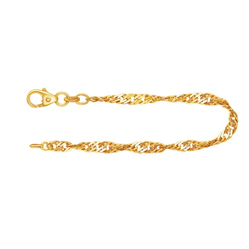 EDELWEISS Pulsera para Mujer de Oro Real de 2.9 mm, Pulsera Cierre de Langosta Oro Amarillo 9 k 375, Pulsera de Oro con Sello, con Cadena de Singapur, Long. 21 cm, p. 2,8 g