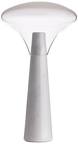Ilide Bella Tall V1 designerlamp voor nachtkastje en tafel Abat Jour Modern, marmeren en glazen onderleggers, GU10, 30 W, wit, 50 x 20 cm
