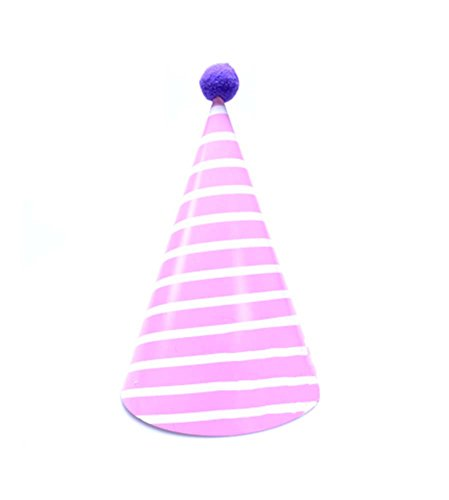 Blancho Fournitures [Rose Stripe] 8Pcs d'anniversaire d'enfants Hat Party Party Hat