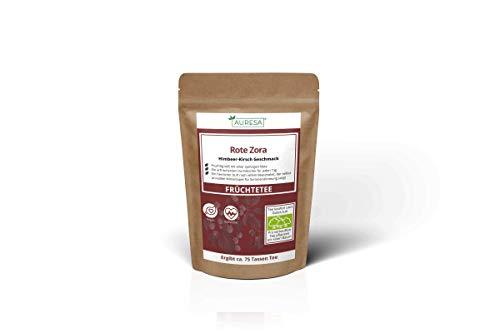 AURESA Früchtetee Rote Zora | Süße Himbeer Note mit Kirsch Aroma | Herrlich erfrischender und spritziger Tee