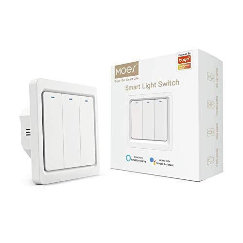 MOES Tuya Zigbee Interruptor de luz de pared con botón inteligente,1 Way,no requiere cable neutro y se necesita Zigbee Gateway Hub,compatible con la aplicación Smart Life/Tuya,Alexa/Google Home,3 Gang