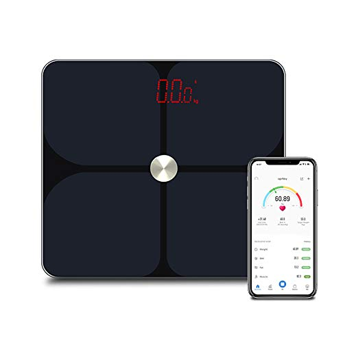 Fantastic Deal! YHML Bluetooth Body Fat Scale, LED Display Intelligent Wireless Pressure Sensor Four-Point Fat Measuring ITO Coating,Black