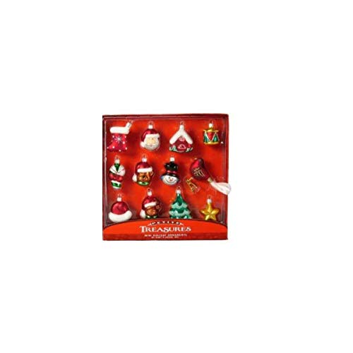 Kurt Adler Glass Ornament with S-Hook and Gift Box, Festive Collection (Mini Festive 12pc Set [w/Clip-on Bird, C1668])