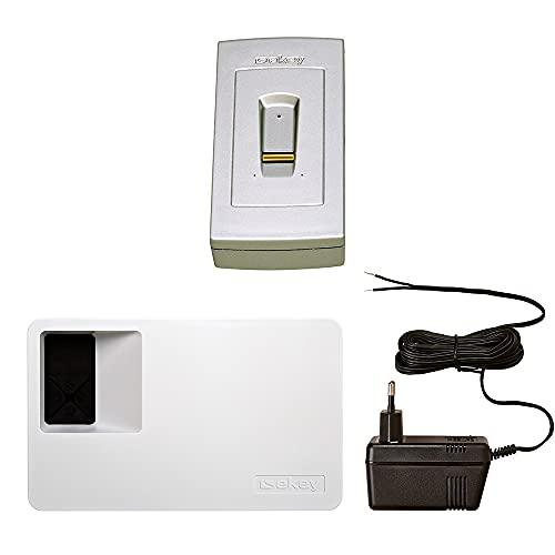 ekey home Komplettset zur Aufputzmontage an der Wand in Stahlgrau (Fingerscanner Aufputz 2.0 + Steuereinheit für 1 Relais + Steckernetzteil) - Fingerprint Zutrittssystem für Ihr Zuhause