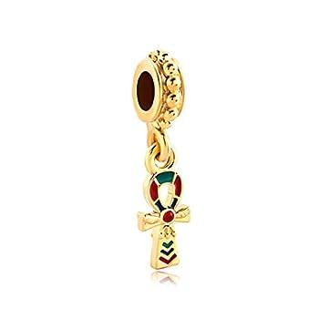 DemiJewelry Egyptian Ankh Cross Dangle Charm Bead for Charms Bracelets