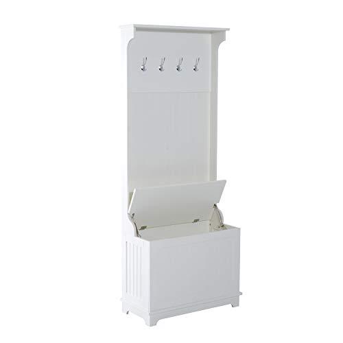 benzoni Mobile per Ingresso con Panca Contenitore e Appendiabiti in Legno Bianco