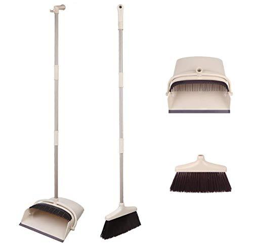 Kehrschaufel mit weichen Borsten, für den Haushalt, Kunststoff, mit langem Stiel, 120 cm mit ausziehbarem Besen