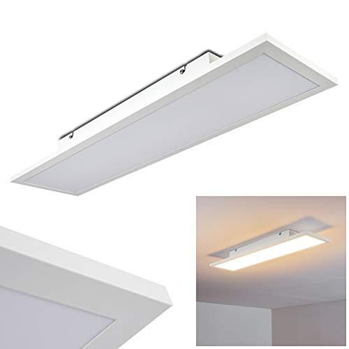 LED plafondpaneel Salmi, moderne plafondlamp gemaakt van aluminium in wit, 24 Watt, 1500 lumen, lichtkleur 3000 Kelvin, langwerpige plafondlamp in vlak design