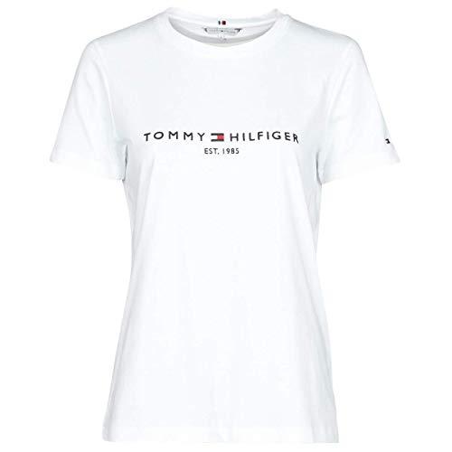 Tommy Hilfiger Damen TH ESS Hilfiger C-NK REG Tee SS, Weiß, XS