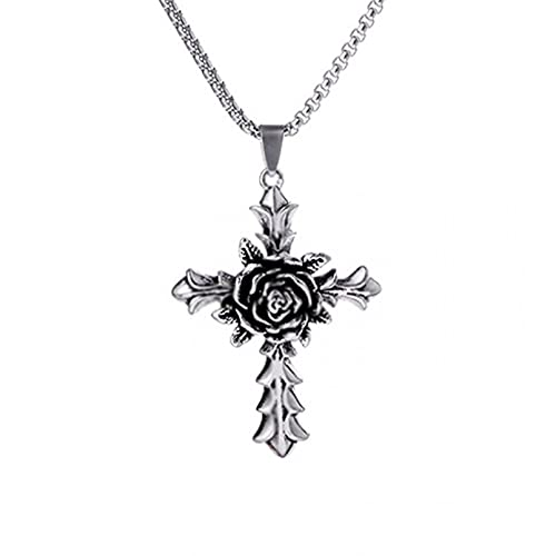 WDBUN Collar Colgante Joyas Collar de Acero de Titanio para Hombres de Moda de la Calle Estilo Colgante de Acero Inoxidable gótico de Rose Cross cumpleaños Fiesta Regalo