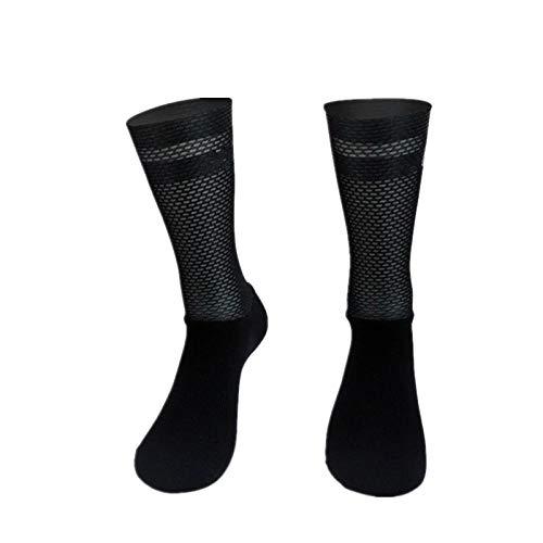 BLOMDE Medias De Compresion Mujer Calcetines Deportivos De Ciclismo De Silicona Antideslizante Pro Team Aero-Negro