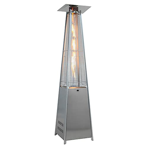 The Fellie Gas Patio Heater, 13KW Outdoor Garden Patio Gas Heater, Freestanding Pyramid Patio Hearer with Moveable Wheels for Butane Gas Canister Up To 15KG (Silver)