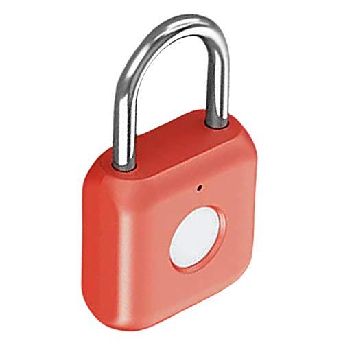 PETSOLA USB Fingerprint Smart Padlock for Suitcase Cabinet Indoor Cabinet Bike - red