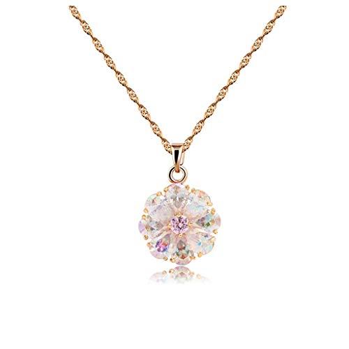 xinxinchaoshi Joyas de Moda Planta Color de Flor Colgante, Collar de Temperamento Dama joyería de la Flor del Regalo de cumpleaños Collar Pendiente de la Boda Aniversario/Collar para Mujer