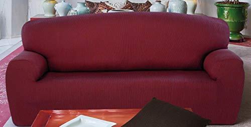Mercato House - Funda de sofá Elastica Rustica/Medida Duo 2 Plazas + 3 Plazas/Regalo Set 3 bayetas/60% Algodón - 35% Poliester - 5% Elastomero/Color Burdeos (Burdeos, Duo - 2 Plazas + 3 Plazas)
