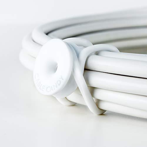 CABLE CANDY – Cable Ties, Small Medium Large - 3 Stück wiederverschließbare Silikon-Kabelbinder Kabelmanagement für unterwegs, Tasche und Auto. Halten Kabel mit bis zu 85 mm Durchmesser zusammen. Weiß