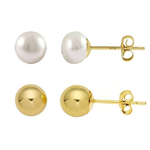 The Olivia Collection - Orecchini a perno in oro giallo 9 kt, con sfera da 5 mm e perle coltivate d'acqua dolce da 5 mm, con chiusura a farfalla