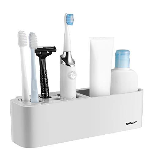 TOPBATHY Bad Veranstalter Saugnapf Zahnbürstenhalter Wandmontierter Badregal Abnehmbare Badezimmerablagen für Rasierer Gesichtsreiniger (grau weiß)