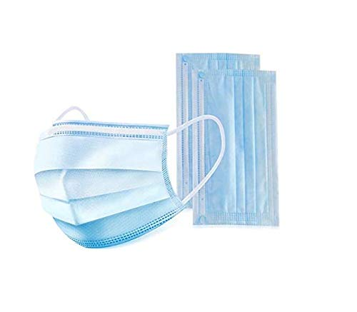 (spot) Disposable Surgical Mask Ear Loop Face Masks Medical Mask Germ Protection 3 Layer Surgical Dust Filter Earloop Mouth Cover-Blue (10)