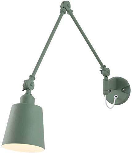 DINGYGJ Lámpara de Hierro Forjado Moderno de la Pared LED Ajustable Sala de Brazo Largo Extensible Rey de la lámpara de Pared E27 Esmerilado Verde Plegables telescópicas de Lectura Lámpara de Pared