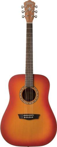 Washburn WD-7S ACSM - Guitarra acústica de 6 cuerdas, acabado mate, color cherry sunburst