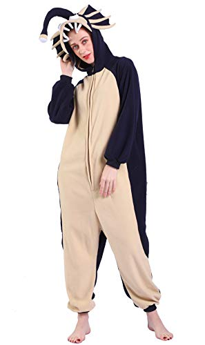 Kigurumi Pijama Animal Entero Unisex para Adultos con Capucha Cosplay Pyjamas Pescador Pescado Ropa de Dormir Traje de Disfraz para Festival de Carnaval Halloween Navidad