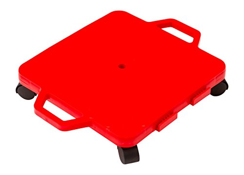 Cosom Scooter Board 16 Inch Children#039s Sit amp Scoot Board with 2 Inch NonMarring Nylon Casters amp Safety Guards for Physical Education Class Sliding Boards with Safety Handles Red