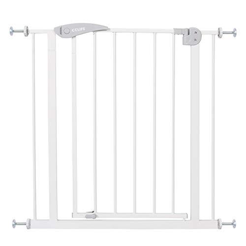 CCLIFE Puerta de Seguridad barrera seguridad niños barrera infantil valla seguridad infantil escalera, Color:75-85 cm Blanco