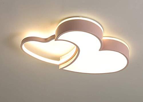 LED Lámpara de techo para haitación de niños en forma de corazón Lámpara de dormitorio, sala de estar, sala de juego (Atenuación continua, Rosa (55 * 38 * 6CM)29W)