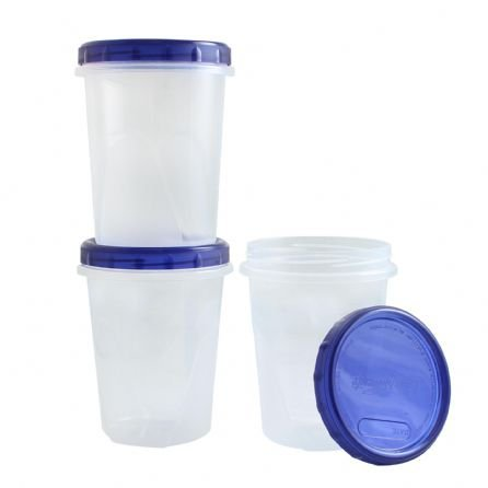 Clear Plastic Food And Storage Containers 32 oz With Screw-On Lids 3 Pack, Great Quality