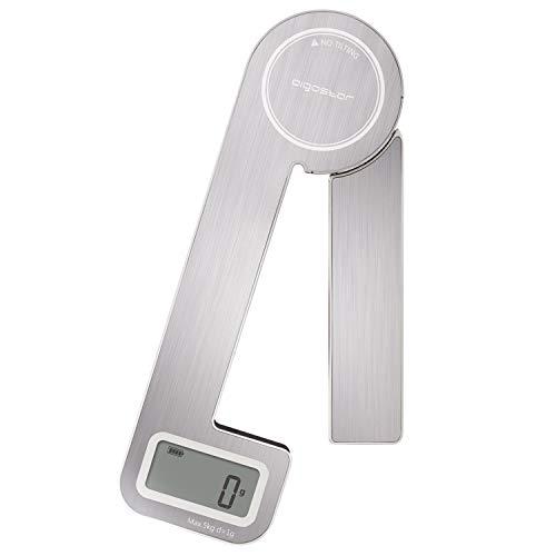 Aigostar Nano - Balance Cuisine, Balance de Cuisine Pliable, Balance de Alimentaire Multifonctionnel en Acier Inoxydable, 5 kg / 11 lb, Fonction Tare, Écran LCD, Chargement Automatique.