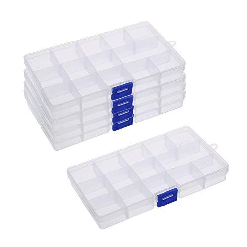 BELIOF 5 Pcs Caja Plástica del Compartimiento para Joya Cajas Organizadoras con 15 Compartimentos Contenedor de Herramientas Plástico Transparente de la joyería Organizadores con 15 Separadores