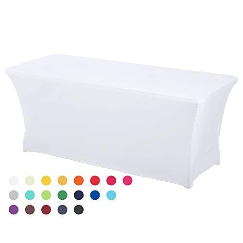 HAORUI 183cm Stretch quadratische Tischdecke Polyester Tischdecke Hochzeitsbankett Party(183×76×76cmWeiß)