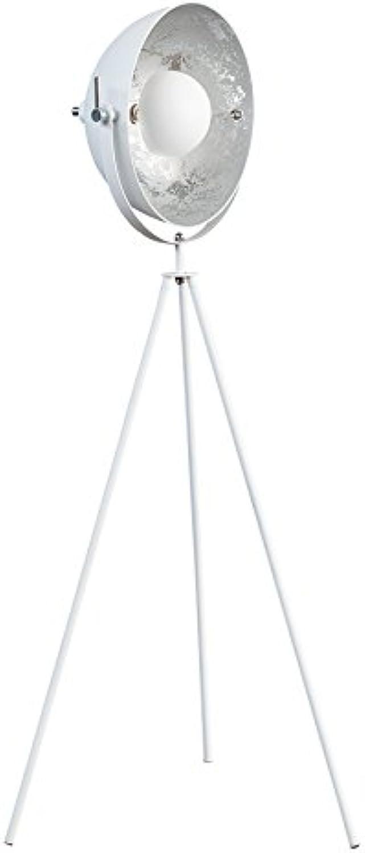 Moderne Design Stehlampe STUDIO 140 cm weiss silber Lampe Blattsilber Optik