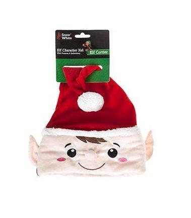 Cappello di Natale di lusso - Cappello rosso carattere Elf con pom pom e ricamo