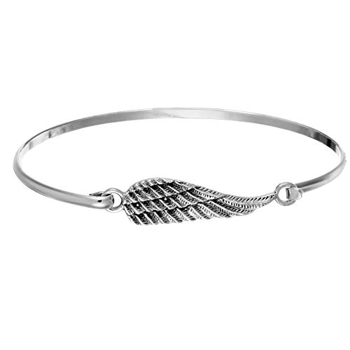 Silverly Women's .925 Sterling Silver Simple Angel Wing Stackable Bangle Bracelet