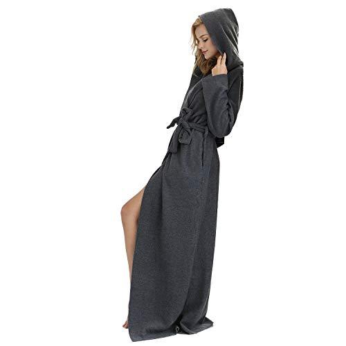 7 VEILS Women and Men Microfleece Ultra Long Floor-Length Hooded Bathrobes-Dark Gray-XL