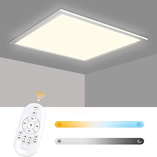 Albrillo LED Panel 62x62cm - 40W Dimmbar und Farbtemperatur Einstellbar (2700-6500K) LED Deckenleuchte, Büroleuchte Inkl. Einstellbare Seilaufhängung, Montage Klemme, Fernbedienung und LED Trafo