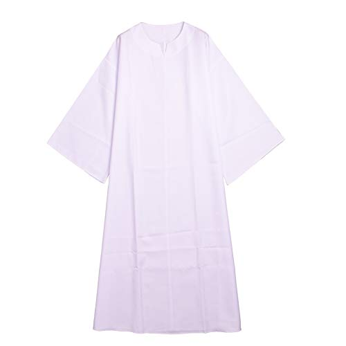 BLESSUME Medieval Wicca Pagan Ritual Robe with Belt (L, White)